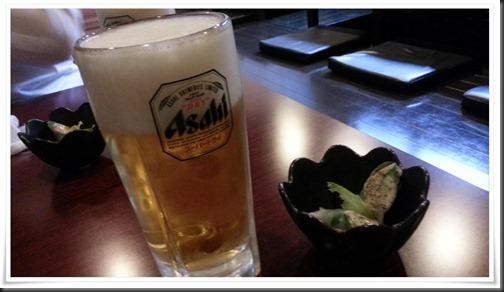 まずは生ビール&小鉢@てばや