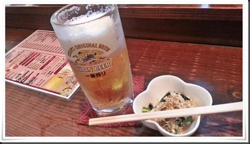 生ビール+小鉢@多聞(たもん)