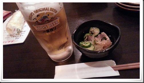 生ビール&小鉢@炭火焼き とり八