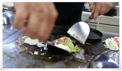 キャベツステーキ仕上げ3@鉄板焼鶏いしちゃん