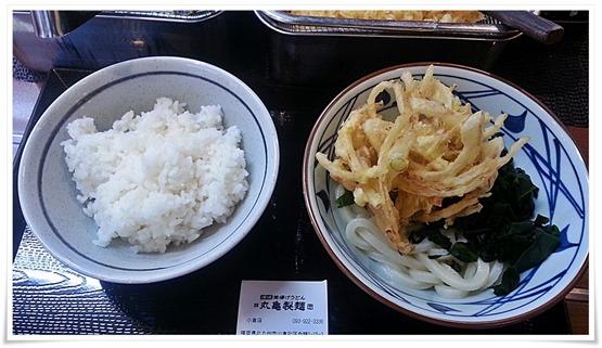 丸亀製麺 かぎ揚げわかめうどん+ごはん