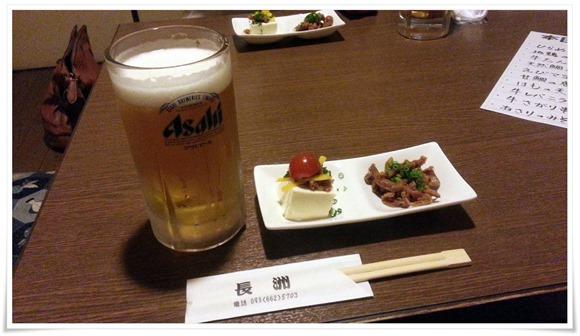 生ビールで乾杯@炭火焼鳥 長洲