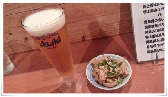 生ビール&自家製メンマ@麺屋 慎之輔