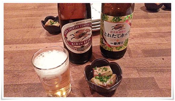 瓶ビールで乾杯!@炭火焼鳥 玉ちゃん