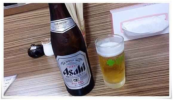 瓶ビールで乾杯!@ラーメン天晴(あっぱれ)