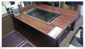 テーブルに鉄板完備@どんどん亭 陣山店