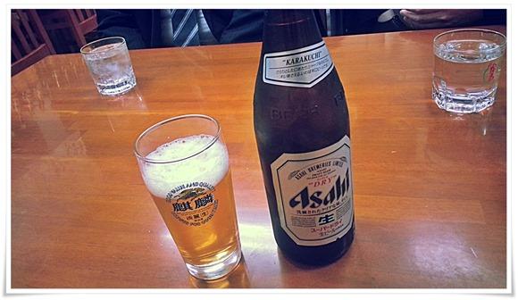 瓶ビールで乾杯@らーめん飛沫(しぶき)