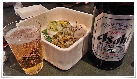 瓶ビール&漬物@とんかつ浜勝 北九州陣山店