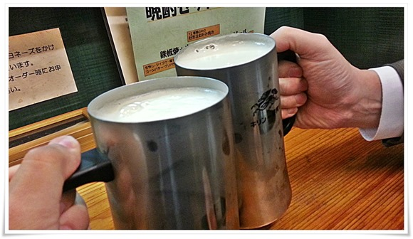 ビールで乾杯@お好み焼・鉄板焼くろがね
