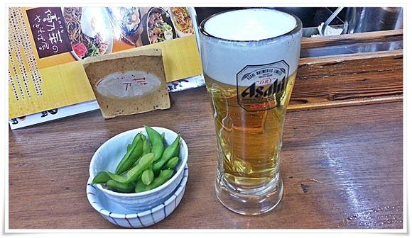 生ビール&小鉢@優乃華のやきそば屋