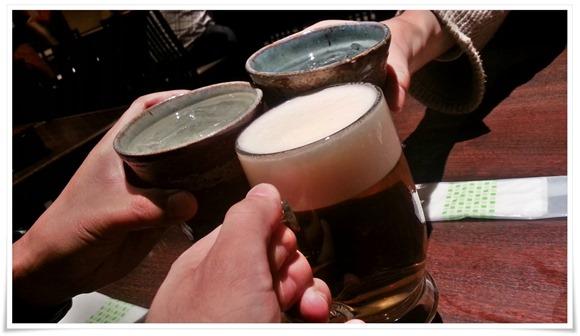 生ビールで乾杯!@そば処 弥五郎