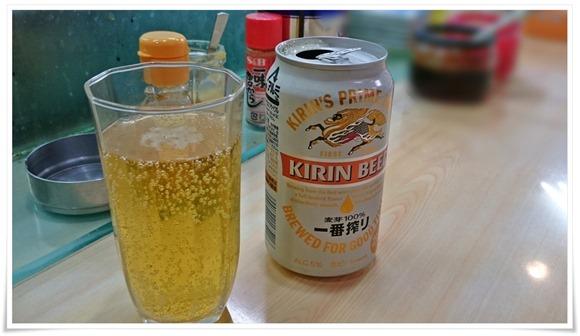 一番絞りで乾杯@福龍ラーメン
