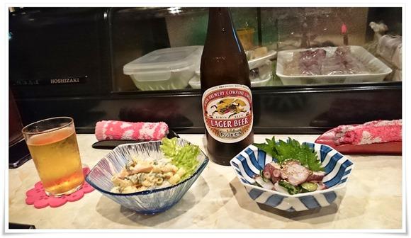 瓶ビールで乾杯!@酒処こふじ