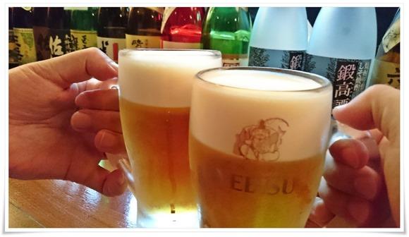 生ビールで乾杯@食べ飲み処 てんやわん屋