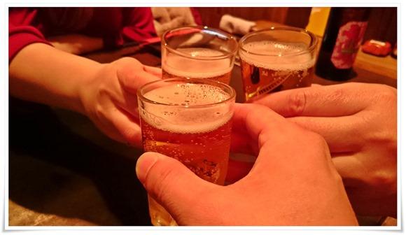 瓶ビールで乾杯@鉄板居酒屋 五衛門