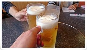 生ビールで乾杯@さんぞくや帆柱店