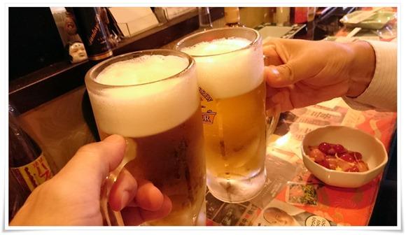 生ビールで乾杯@焼鳥 梵久楽(ぼんくら)