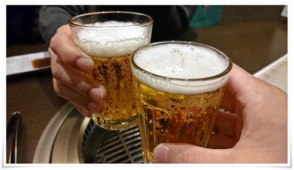 瓶ビールで乾杯!@焼肉 仁(JIN)