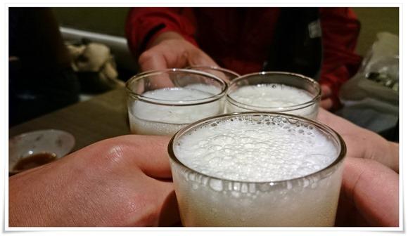 ビールで乾杯@中華そば 藤王(ふじおう)
