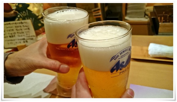 生ビールで乾杯@おでん乃まるけん