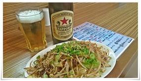 野菜炒め+赤星@ラーメン天晴