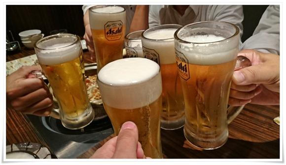 生ビールで乾杯@黒崎もつ鍋 喰い鍋や