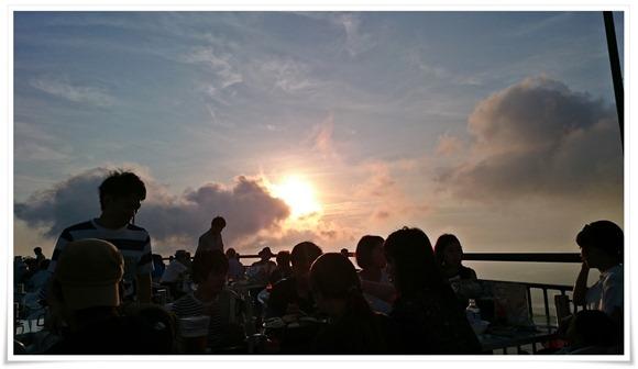夕日が素敵でした@星空ビアガーデン