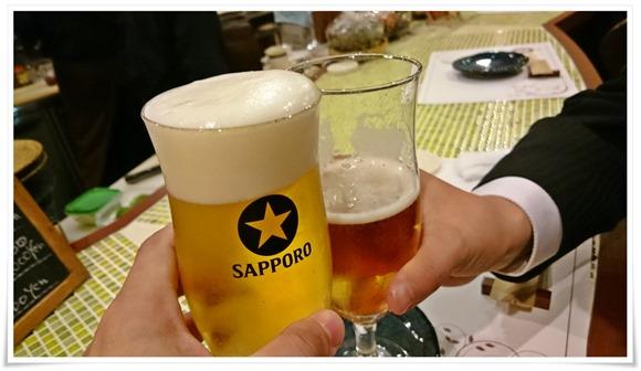 生ビールで乾杯@和洋創作料理 楓(かえで)