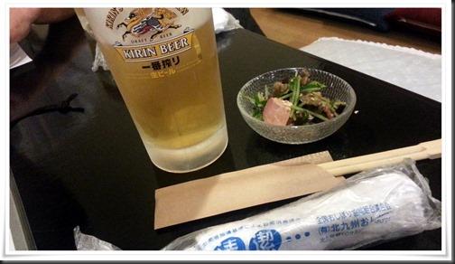 まずはビールで乾杯@焼鳥 梵久楽