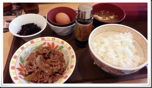たまごかけごはん朝食+朝食牛皿@すき家