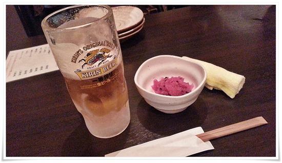 生ビールで乾杯@とり八 八幡駅前本店