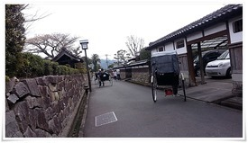 武家屋敷通りの風景に馴染む人力車