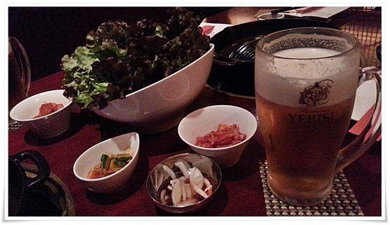 まずは大ビールで乾杯@プルコギダイニング草乃家