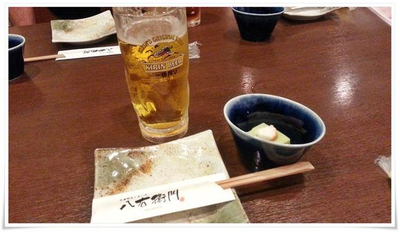 生ビール&小鉢@八右衛門