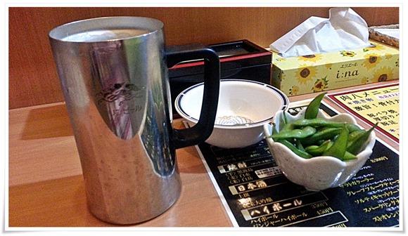 生ビール&枝豆@肉八(にくや)
