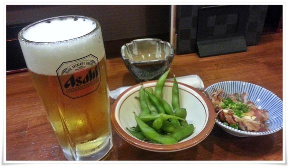 生ビール+枝豆+冷奴@鉄板焼つぼつぼ
