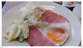 朝定食(洋)ハムエッグ@まんなおし食堂