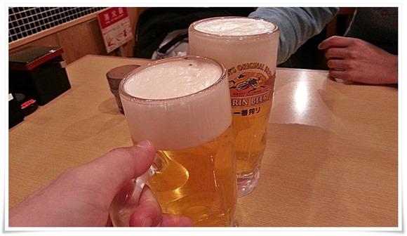 生ビールで乾杯@博多三昧 まるとく食堂
