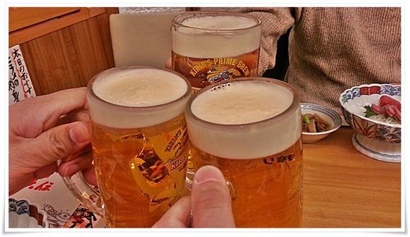 生ビールで乾杯@玄海地魚 にぎりや六伝