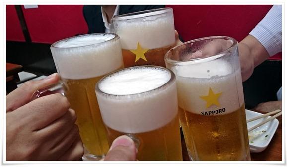 生ビールで乾杯@鉄板豚辛屋本家
