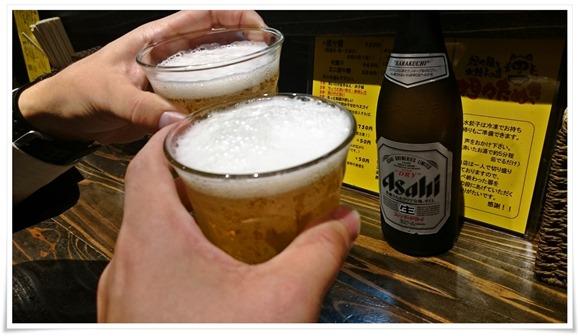 ビールで乾杯@担々たぬきら~めんKIWAMI