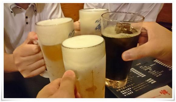 生ビールで乾杯@宮崎名物 地鶏もも焼 翔