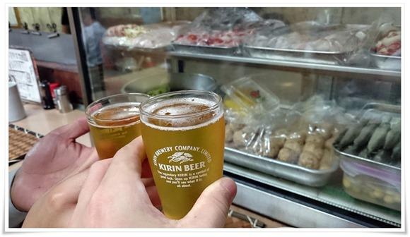 ビールで乾杯!@やきとり王将