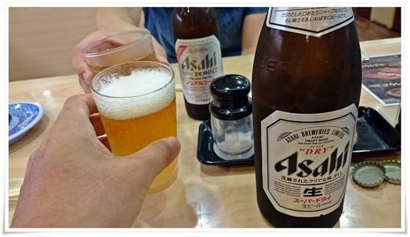 瓶ビールで乾杯@くら寿司 小倉到津店