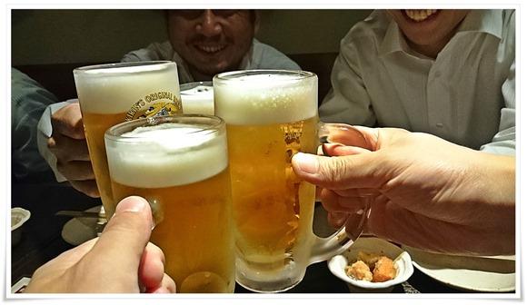 生ビールで乾杯@炭火焼き とり八 黒崎店