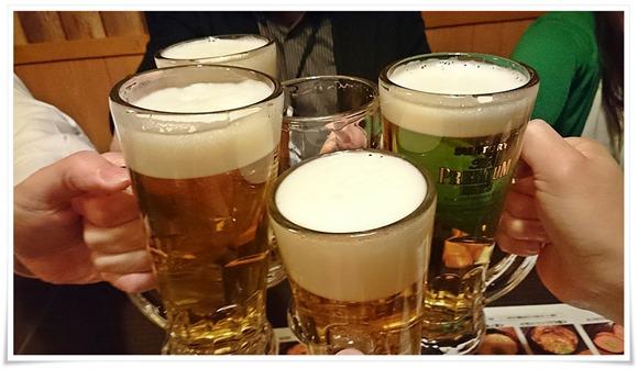 生ビールで乾杯@地鶏処 本丸 黒崎店