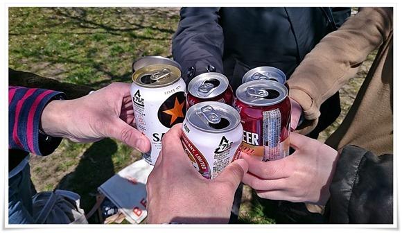 それでは乾杯!@高炉台公園で花見