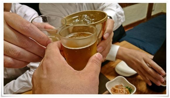瓶ビールで乾杯@居酒屋ゆたか