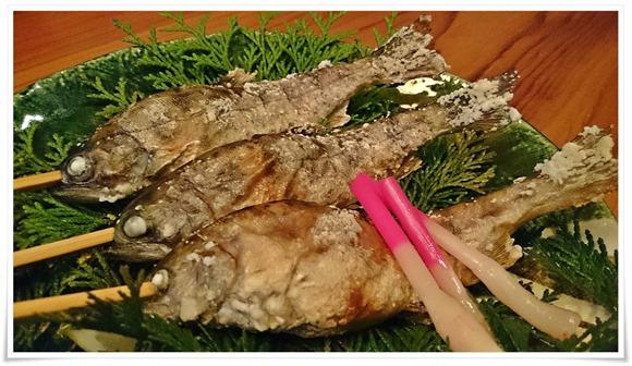 山女魚の塩焼き@旅館やまの湯
