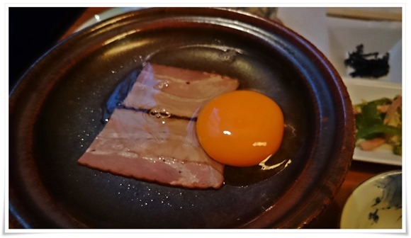 陶板焼きベーコンエッグ@旅館やまの湯